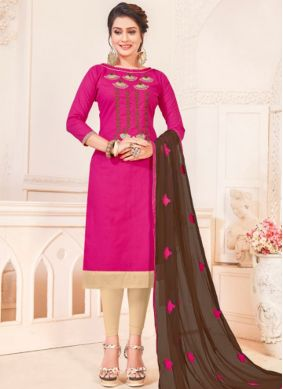 Exciting Cotton   Hot Pink Churidar Suit