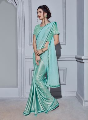 Exotic Blue Embroidered Classic Ruffle Saree