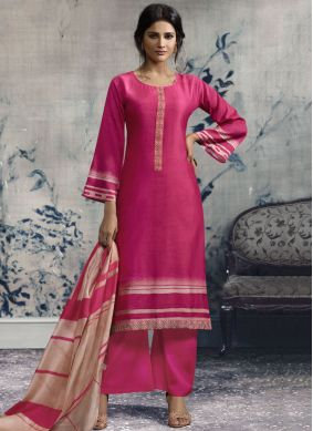 Exotic Hot Pink Print Designer Palazzo Suit