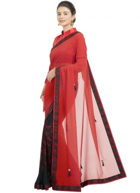 Exquisite Red Shaded Saree