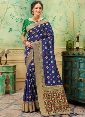 Extraordinary Blue Banarasi Silk Silk Saree