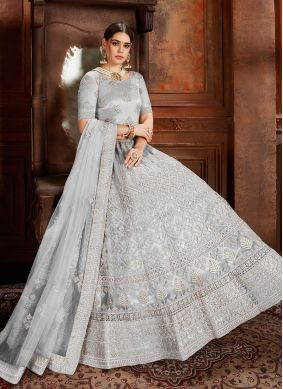 Extraordinary Grey Thread Net Designer Lehenga Choli