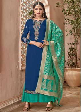 Exuberant Blue and Sea Green Zari Designer Palazzo Suit