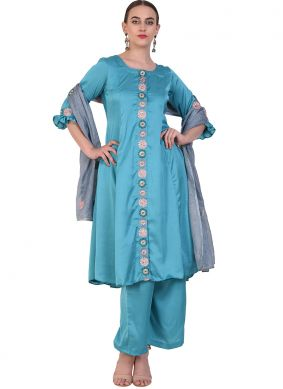 Exuberant Blue Wedding Designer Salwar Suit
