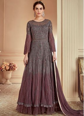 Exuberant Net Embroidered Grey Floor Length Anarkali Suit