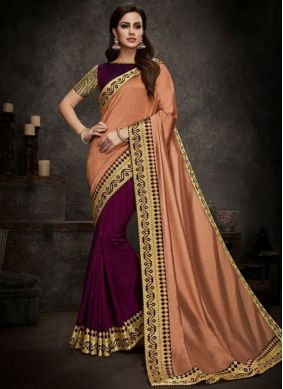 Exuberant Peach and Purple Festival Designer Half N Half Saree