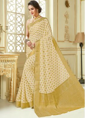 Eye-Catchy Beige Woven Traditional Designer Saree