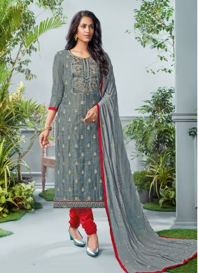 Eye-Catchy Grey Printed Salwar Suit