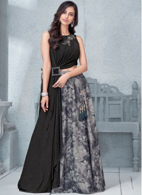 Eye-Catchy Handwork Lycra Black Lehenga Choli