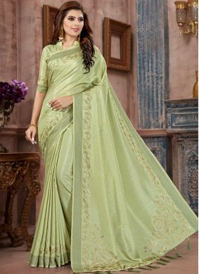 Eye-Catchy Stone Work Sea Green Classic Saree