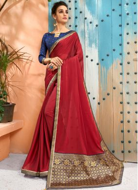 Eye-Catchy Woven Faux Georgette Traditional Saree