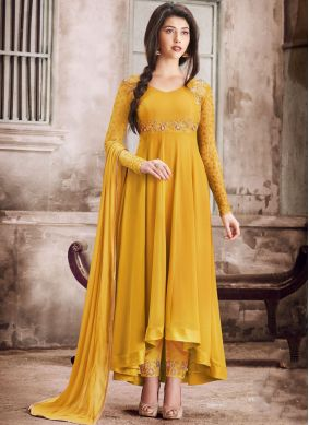 Faux Georgette Mustard Color Salwar Suit