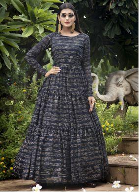 Printed Georgette Gown in Navy Blue