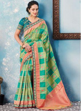 Fabulous Green Border Tafeta silk Designer Saree