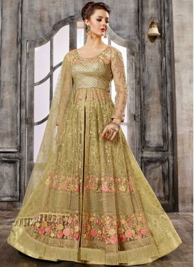 Fabulous Net Green Embroidered Work Long Choli Lehenga