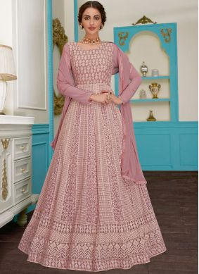 Fabulous Pink Ceremonial Floor Length Anarkali Suit