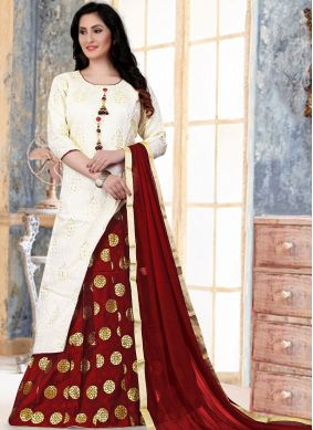 Fancy Banglori Silk Readymade Lehenga Choli in White