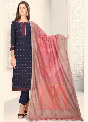 Fancy Chanderi Churidar Designer Suit in Blue