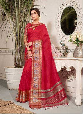 Fancy Chanderi Cotton Classic Saree in Red