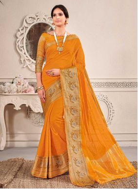 Fancy Chanderi Cotton Traditional Saree in Yellow