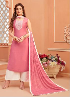 Fancy Cotton Silk Pink Designer Palazzo Suit
