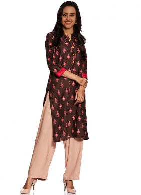 Fancy Fabric Abstract Print Brown Party Wear Kurti
