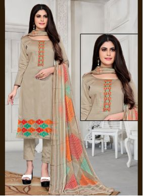 Fancy Fabric Beige Embroidered Pant Style Suit