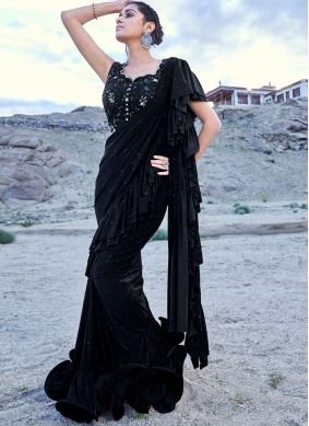 Fancy Fabric Black Classic Designer Saree