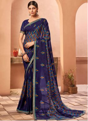 Fancy Fabric Blue Abstract Print Saree