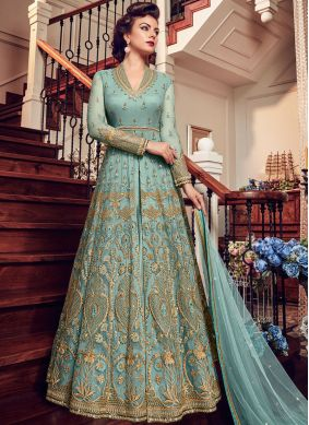 Fancy Fabric Blue Embroidered Floor Length Anarkali Suit