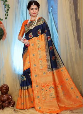 Fancy Fabric Blue Weaving Designer Traditional Saree