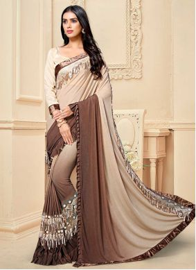 Fancy Fabric Brown Shaded Saree