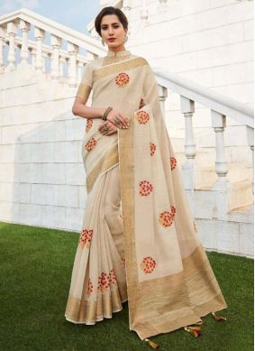 Fancy Fabric Cream Embroidered Trendy Saree