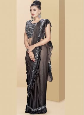 Fancy Fabric Embroidered Black Traditional Saree