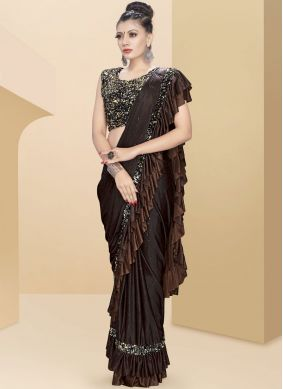 Fancy Fabric Embroidered Brown Classic Saree