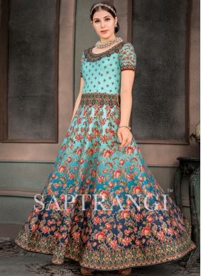 Fancy Fabric Embroidered Designer Gown in Multi Colour