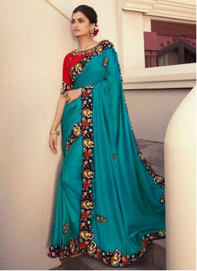 Fancy Fabric Embroidered Designer Saree in Blue
