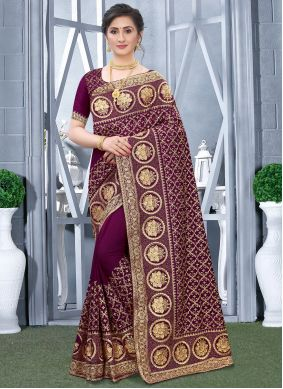 Fancy Fabric Embroidered Designer Traditional Saree in Wine