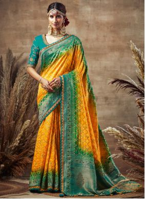 Fancy Fabric Embroidered Designer Traditional Saree in Yellow