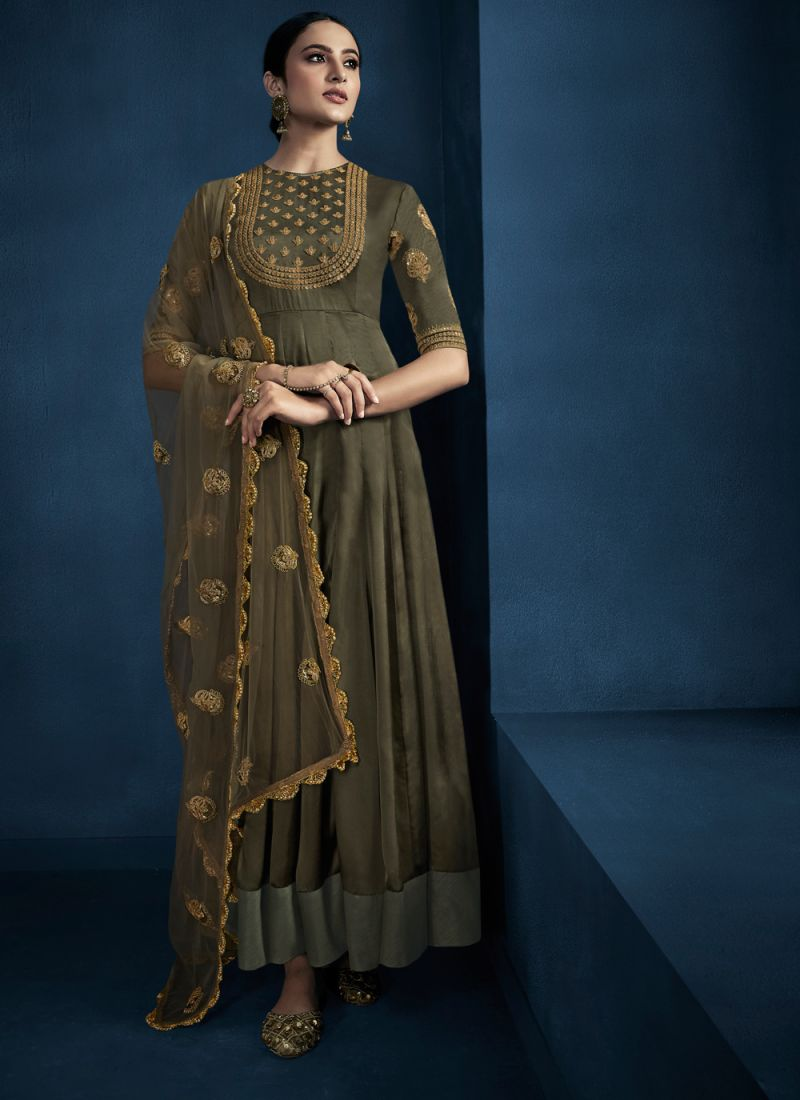 Fancy Fabric Embroidered Green Trendy Gown