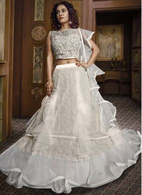 Fancy Fabric Embroidered Off White Designer Lehenga Choli