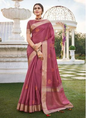 Fancy Fabric Embroidered Rose Pink Traditional Saree