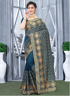 Fancy Fabric Embroidered Teal Designer Traditional Saree