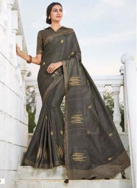 Fancy Fabric Embroidered Traditional Saree in Grey