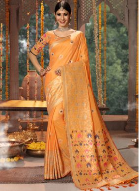 Fancy Fabric Embroidered Traditional Saree in Peach