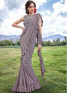 Fancy Fabric Embroidered Trendy Saree in Grey