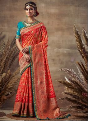 Red Fancy Fabric Engagement Traditional Saree