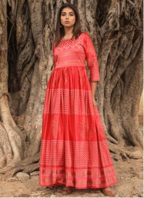 Fancy Fabric Fancy Red Designer Gown