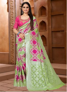 Fancy Fabric Green and Pink Weaving Classic Designer Saree