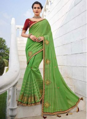 Fancy Fabric Green Embroidered Trendy Saree